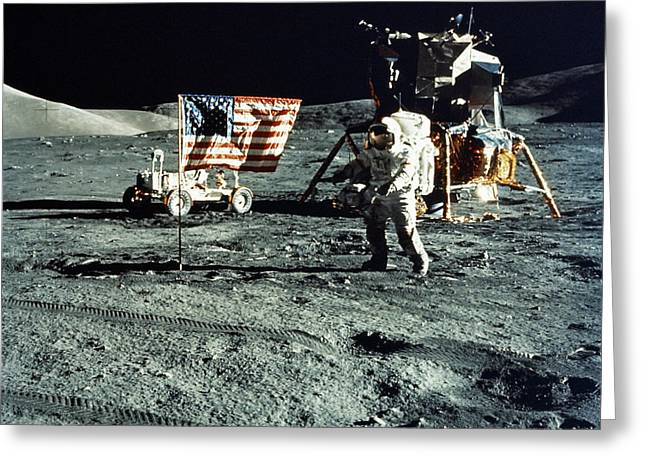 Lunar Surface Greeting Cards - Astronaut And Lunar Module On Moon Greeting Card by Stocktrek Images