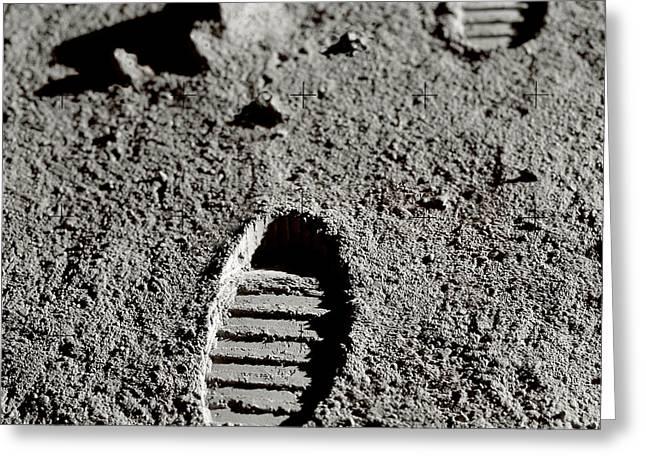 Astronaut Footprints On The Moon Greeting Card by Detlev Van Ravenswaay