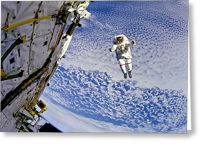 Astronaut In Atmosphere Greeting Card by The  Vault - Jennifer Rondinelli Reilly