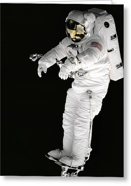 North American Aviation Greeting Cards - Astronaut in Deep Space Greeting Card by The  Vault - Jennifer Rondinelli Reilly