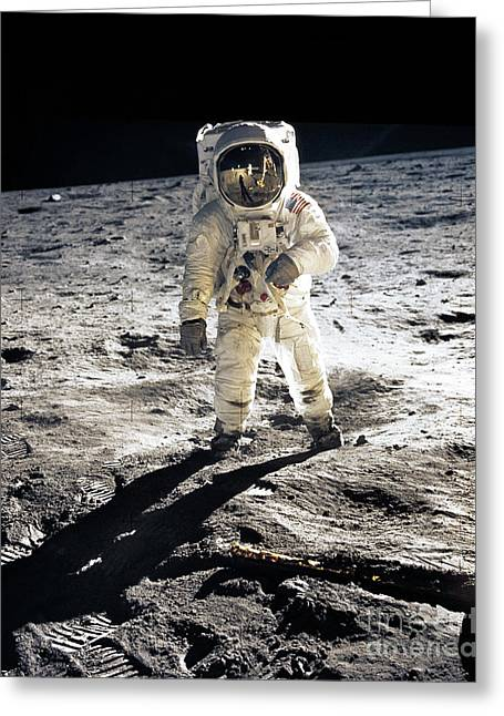 The Moons Greeting Cards - Astronaut Greeting Card by Photo Researchers