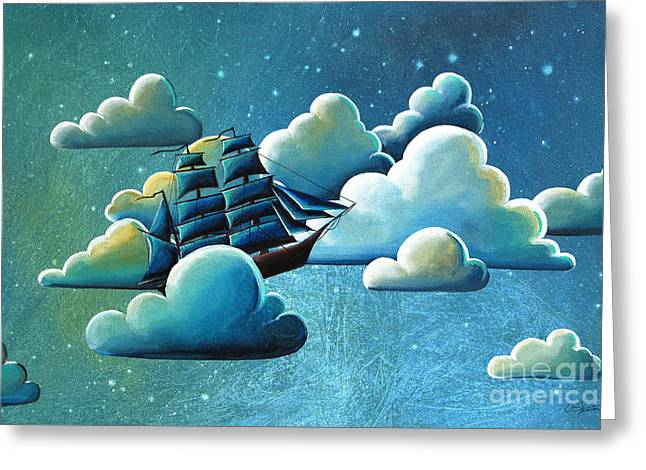 Pirates Paintings Greeting Cards - Astronautical Navigation Greeting Card by Cindy Thornton