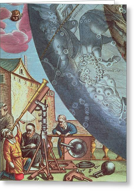 Macrocosmica Greeting Cards - Astronomers looking through a telescope Greeting Card by Andreas Cellarius