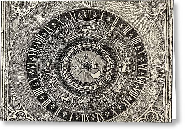 Hamptons Drawings Greeting Cards - Astronomical Clock In Hampton Court Greeting Card by Ken Welsh