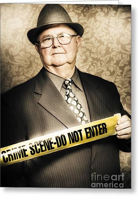Discern Greeting Cards - Astute fifties crime scene investigator Greeting Card by Ryan Jorgensen