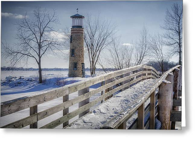 Shack Greeting Cards - Asylum Point Lighthouse Greeting Card by Joan Carroll