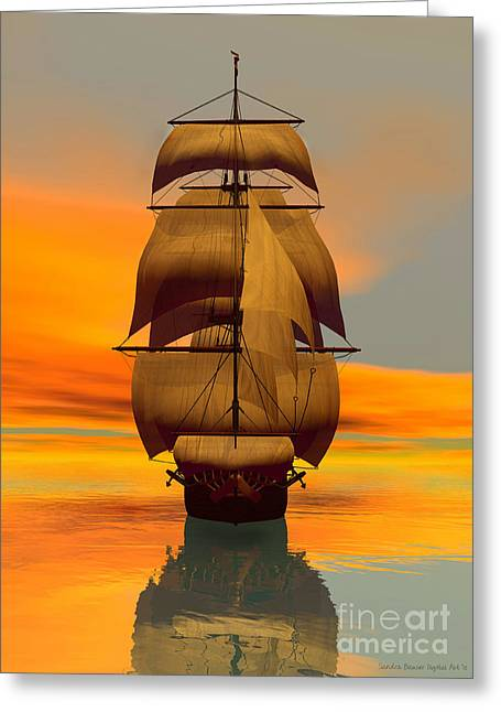 At Full Sail Greeting Card by Sandra Bauser Digital Art