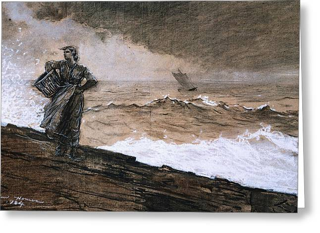 Charcoal Paintings Greeting Cards - At High Sea Greeting Card by Winslow Homer