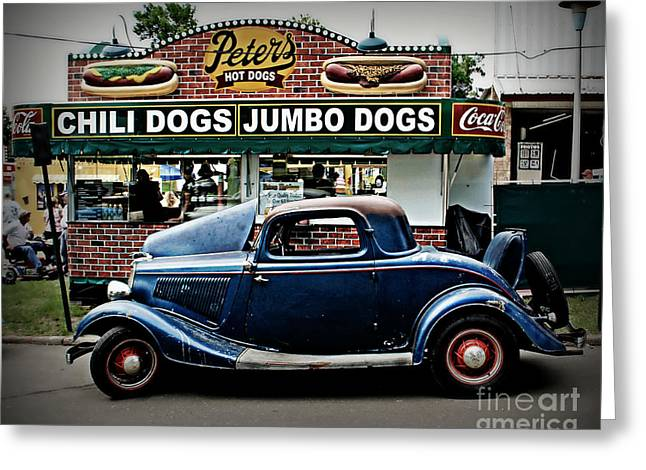 Blue Car. Greeting Cards - At Peters Greeting Card by Perry Webster