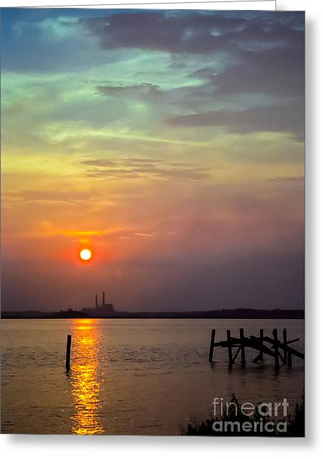Cabin Window Greeting Cards - At Pops Ferry Bridge Greeting Card by Robert Frederick