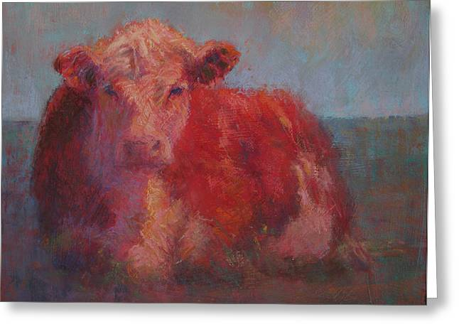 Farm Animals Pastels Greeting Cards - At Rest Greeting Card by Susan Williamson