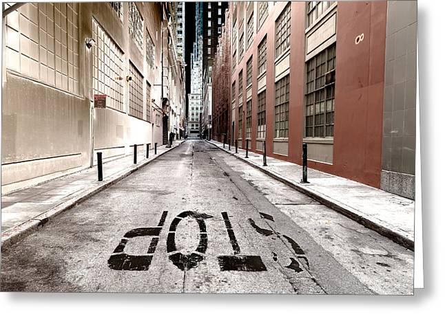 Main Street Greeting Cards - At Stop Sign Greeting Card by Jonathan Nguyen