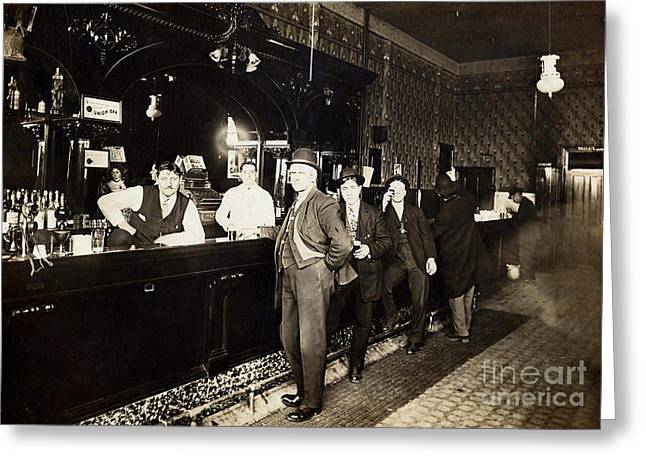 Prohibition Greeting Cards - At the Bar Greeting Card by Jon Neidert