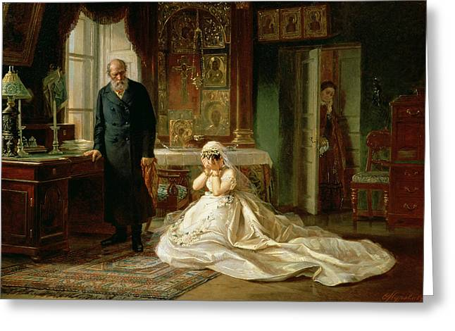 Bridal Gown Greeting Cards - At the Altar Greeting Card by Firs Sergeevich Zhuravlev