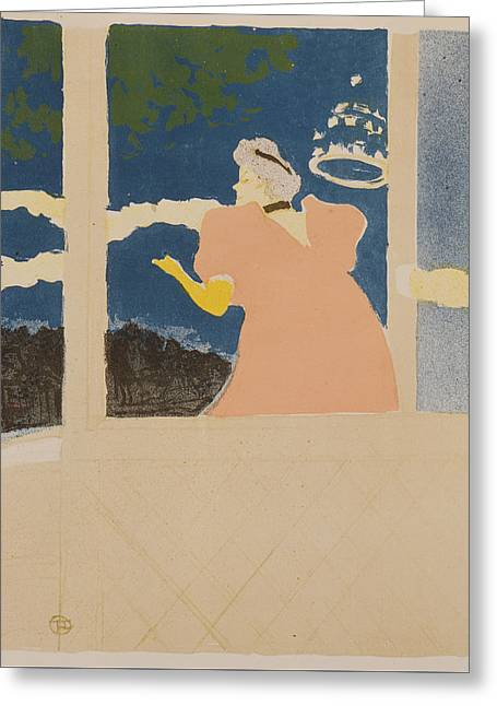 At The Ambassador Theater Greeting Card by Henri de Toulouse-Lautrec