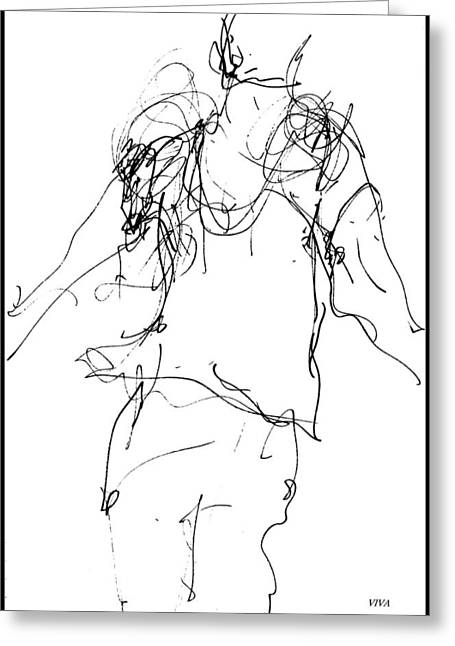 Ballet Dancers Drawings Greeting Cards - At The Ballet - 1 Greeting Card by VIVA Anderson