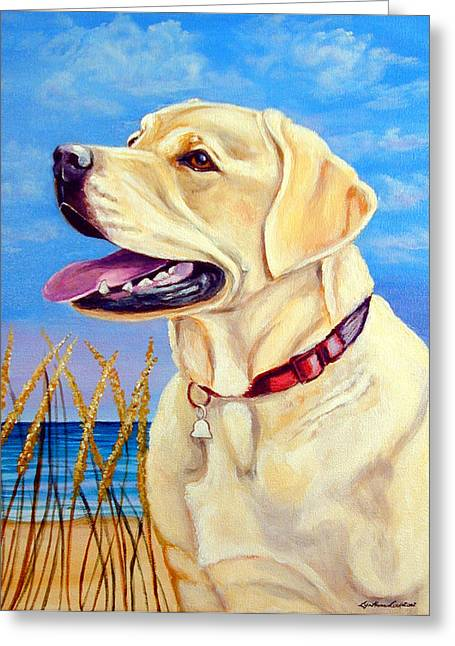 Puppies Greeting Cards - At the Beach - Labrador Retriever Greeting Card by Lyn Cook