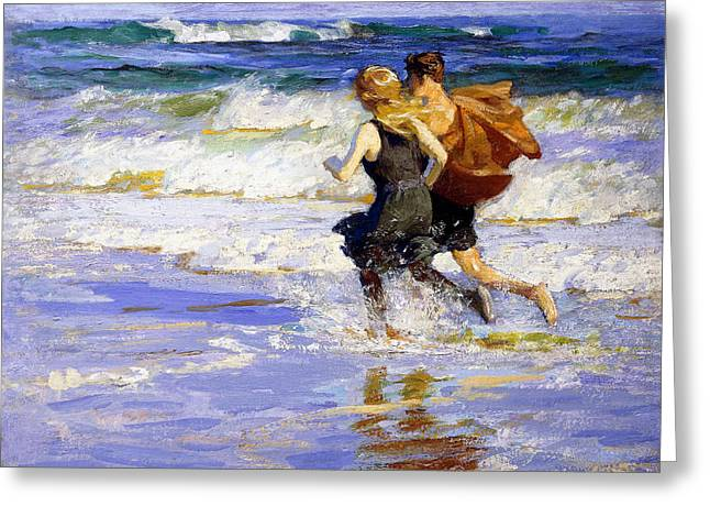 Henry Greeting Cards - At the Beach Greeting Card by Edward Henry Potthast