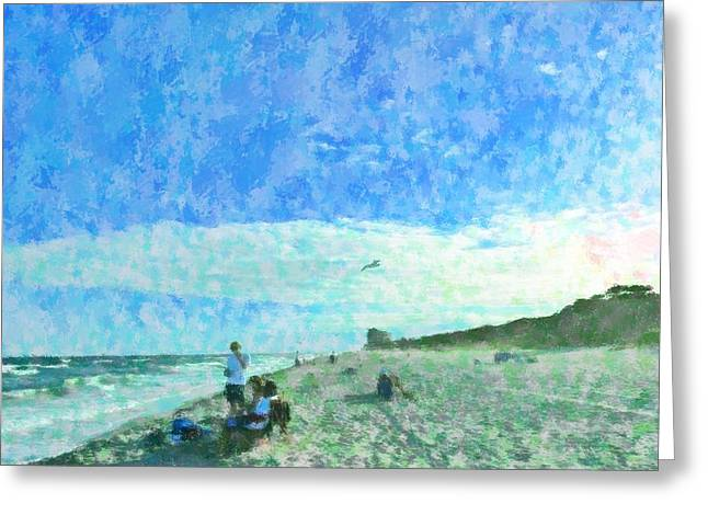 Spectacular Mixed Media Greeting Cards - At The Beach Greeting Card by Florene Welebny
