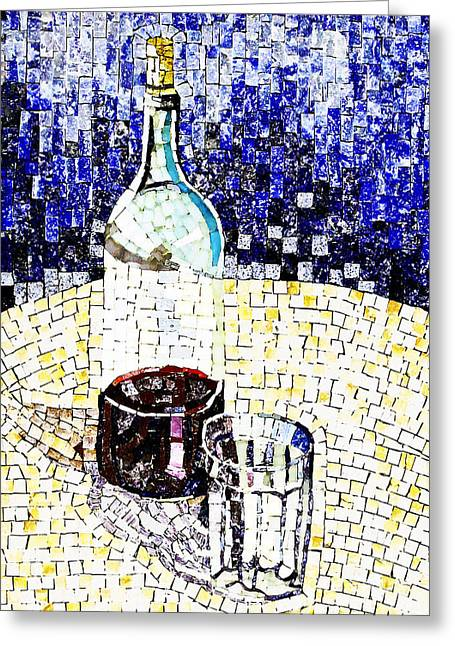 Red Wine Bottle Greeting Cards - At the Bistro Greeting Card by Steve C Heckman