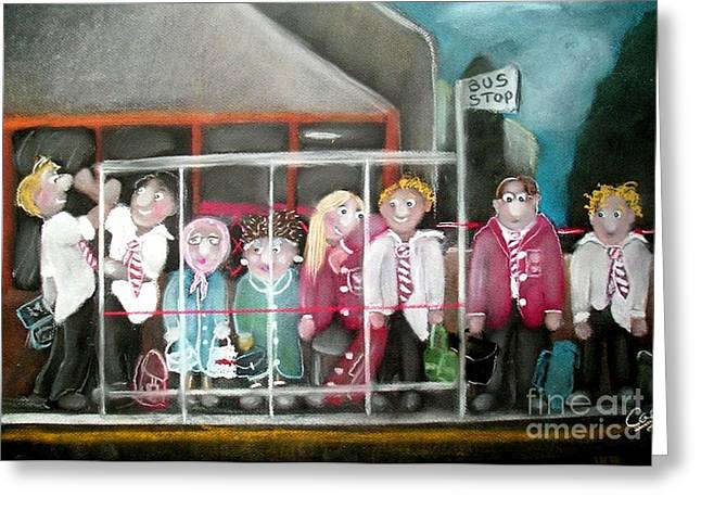 Uniform Pastels Greeting Cards - At the bus stop Greeting Card by Caroline Peacock
