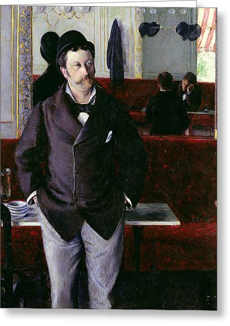 Rouen Greeting Cards - At the Cafe Rouen Greeting Card by Gustave Caillebotte
