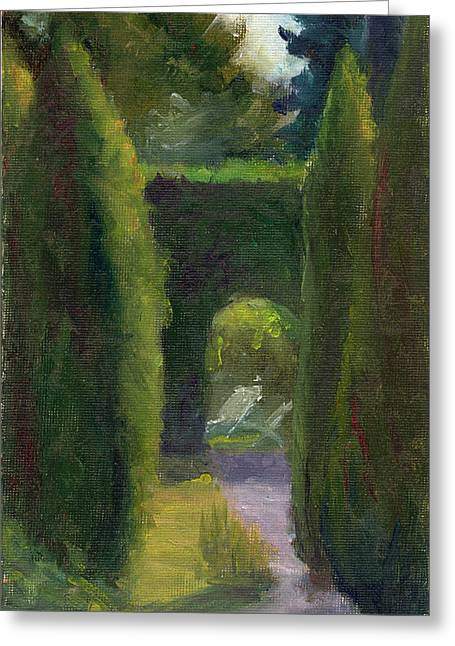 Impressionist Greeting Cards - At the Chateau Greeting Card by Elizabeth B Tucker