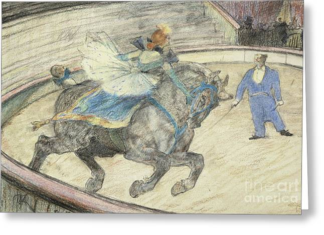 At The Circus  Work In The Ring Greeting Card by Henri de Toulouse-Lautrec