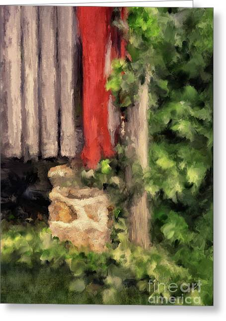 At The Corner Of The Barn Greeting Card by Lois Bryan