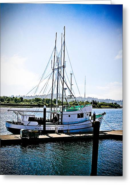 Wooden Platform Greeting Cards - At the Dock - Oregon Coast Greeting Card by Diane Mintle