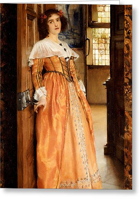 Full-length Portrait Greeting Cards - At The Doorway Greeting Card by Laura Theresa Alma-Tadema