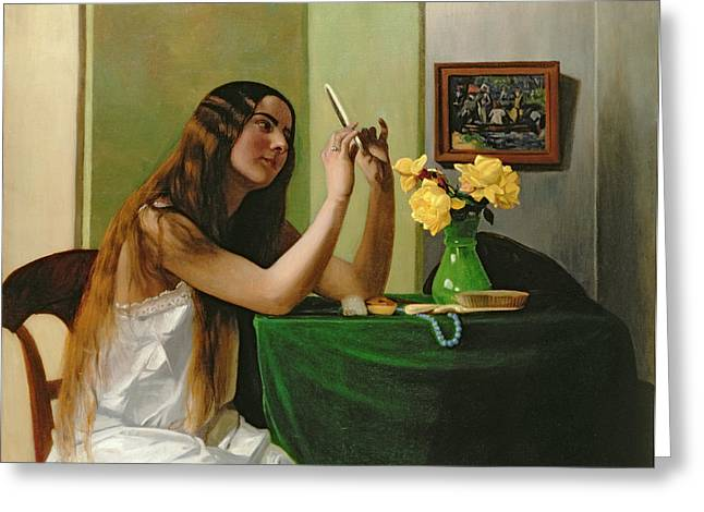 At The Dressing Table Greeting Card by Felix Edouard Vallotton