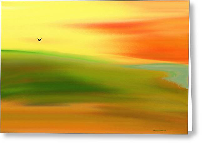 Abstract Digital Paintings Greeting Cards - At the Edge of the Lake Greeting Card by Lenore Senior