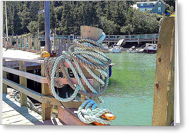 Boats At The Dock Greeting Cards - At the end of my rope Greeting Card by Karen Cook