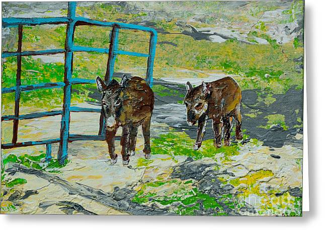 Rural Indiana Paintings Greeting Cards - At The Farm Greeting Card by Alys Caviness-Gober