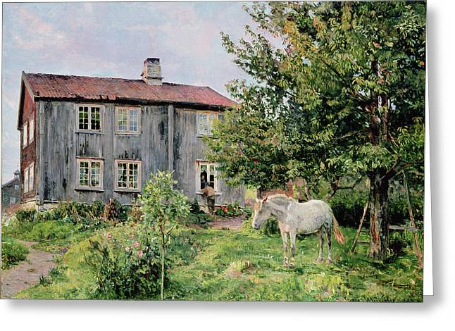 Country Cottage Greeting Cards - At The Farm Greeting Card by Gerhard Peter Frantz Vilhelm Munthe