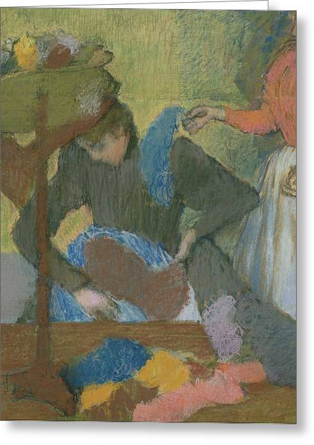 Edgar Degas Pastels Greeting Cards - At the Hat Maker Greeting Card by Edgar Degas