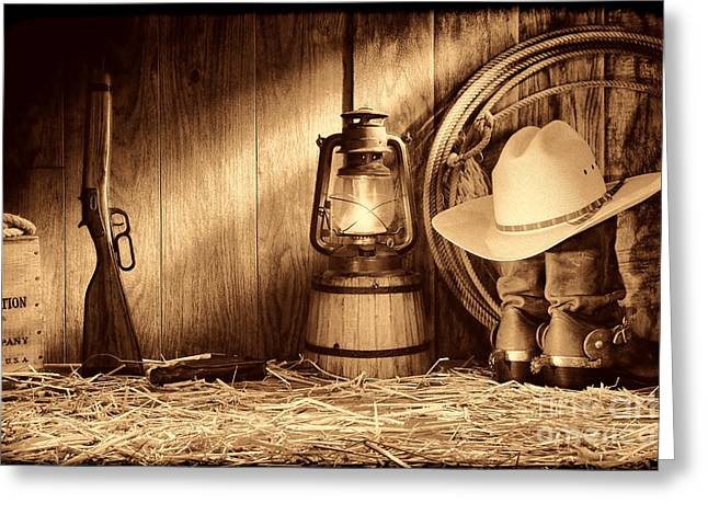 Old Western Photos Greeting Cards - At the Old Ranch Greeting Card by American West Legend By Olivier Le Queinec