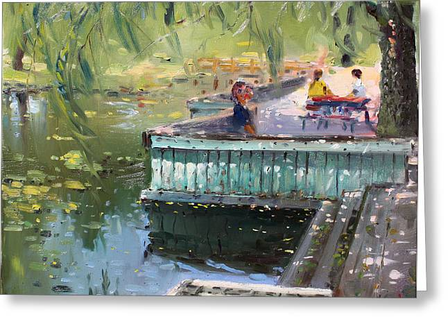 At The Park By The Water Greeting Card by Ylli Haruni