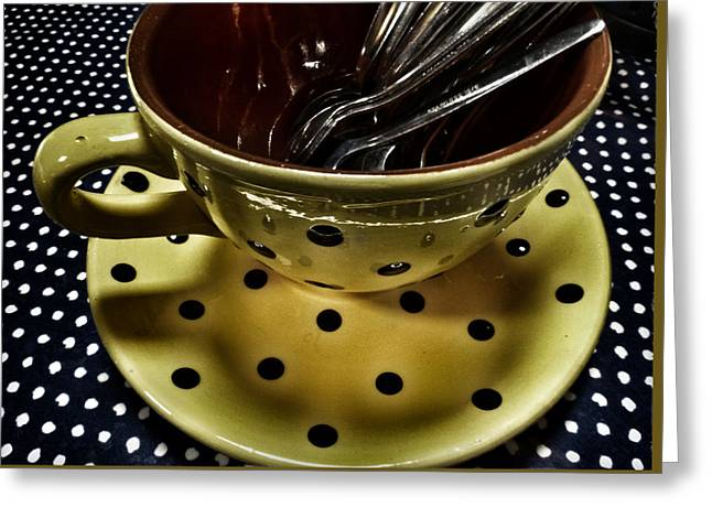 At The Polka Dotty Cafe  Greeting Card by Connie Handscomb