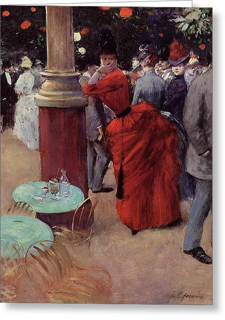 At The Public Garden Greeting Card by Jean Louis Forain