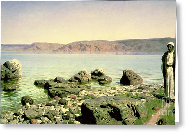 Sea Of Tranquility Greeting Cards - At the Sea of Galilee Greeting Card by Vasilij Dmitrievich Polenov