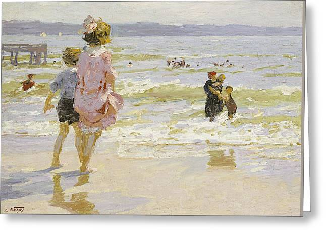 On The Beach Greeting Cards - At the Seashore Greeting Card by Edward Henry Potthast