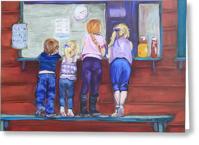 Softball Paintings Greeting Cards - At the Snack Bar Greeting Card by Mary Beth Harrison