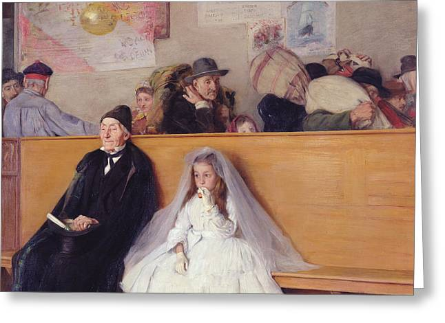 Grandpa Greeting Cards - At the Station Greeting Card by Giuseppe Ricci