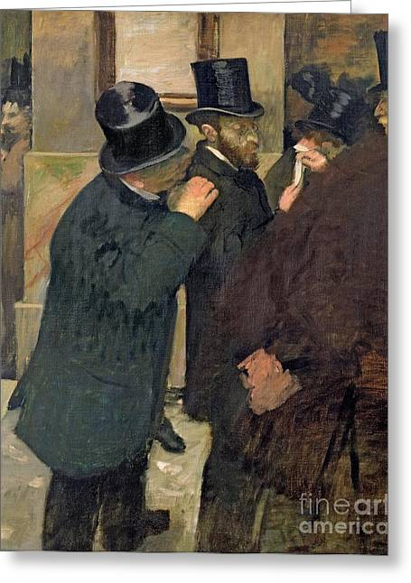 Businessmen Greeting Cards - At the Stock Exchange Greeting Card by Edgar Degas