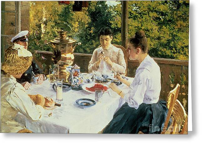 The Conversation Greeting Cards - At the Tea-Table Greeting Card by Konstantin Alekseevich Korovin