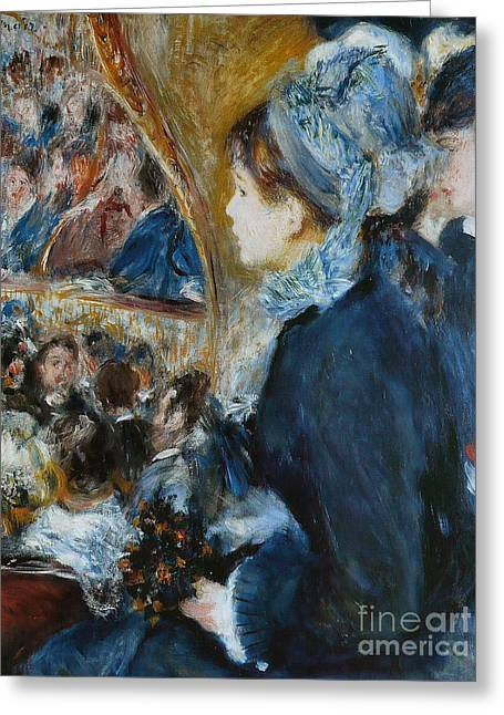 At The Theater Greeting Card by Pierre Auguste Renoir