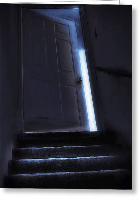 Basement Art Greeting Cards - At the Top of the Stairs Greeting Card by Steve Ohlsen