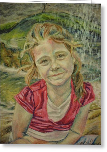 People Pastels Greeting Cards - At the waterfall Greeting Card by Agnes V